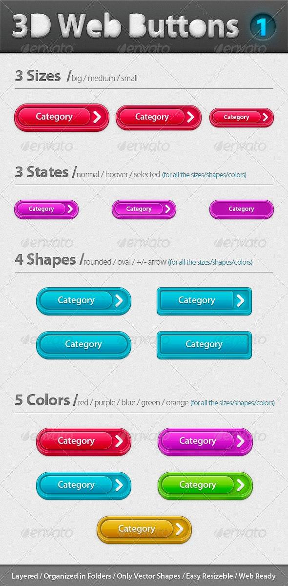 3D Web Buttons - Pack 1 - Buttons Web Elements