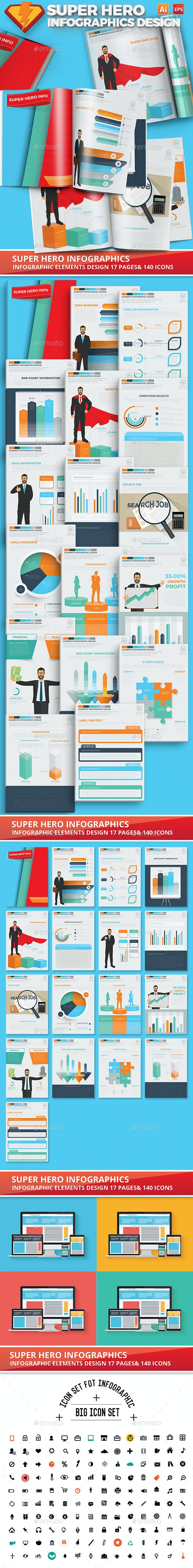 Super Hero Infographics Design 17 Pages