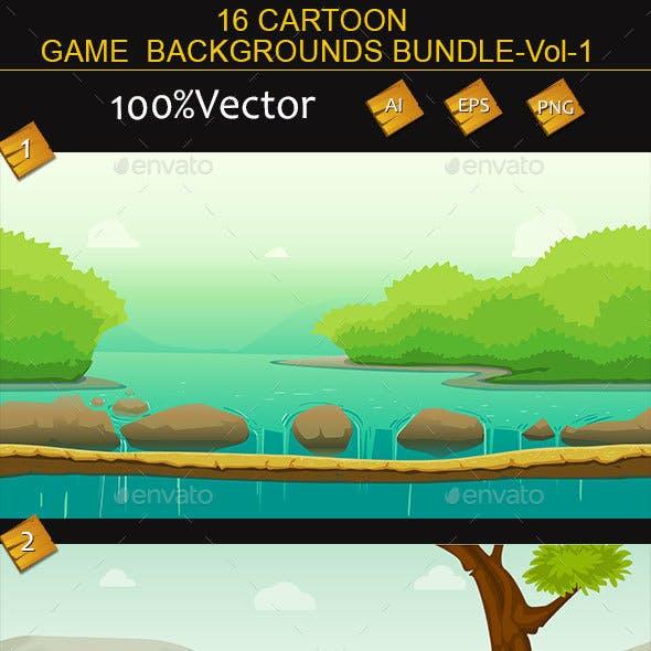 16 cartoon Game Backgrounds Bundle Volume-1