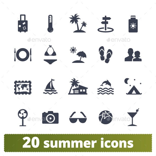 Summer Holidays Icons.