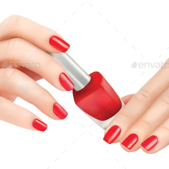 Hands with Red Polished Nails and Nail Polish Bottle