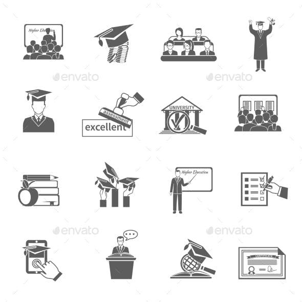 Higher Education Icon Black