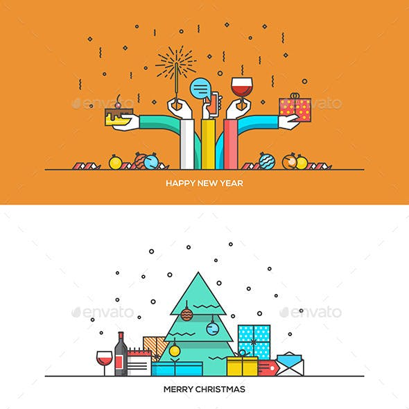 Christmas and New Year Flat Line Design