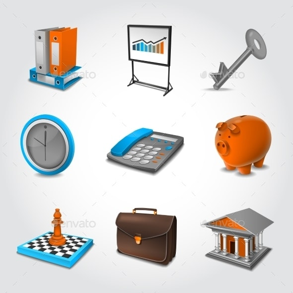 Business Realistic Icons - Concepts Business