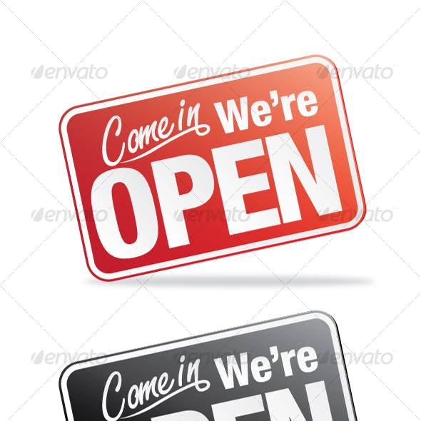 Vector Open Sign Set