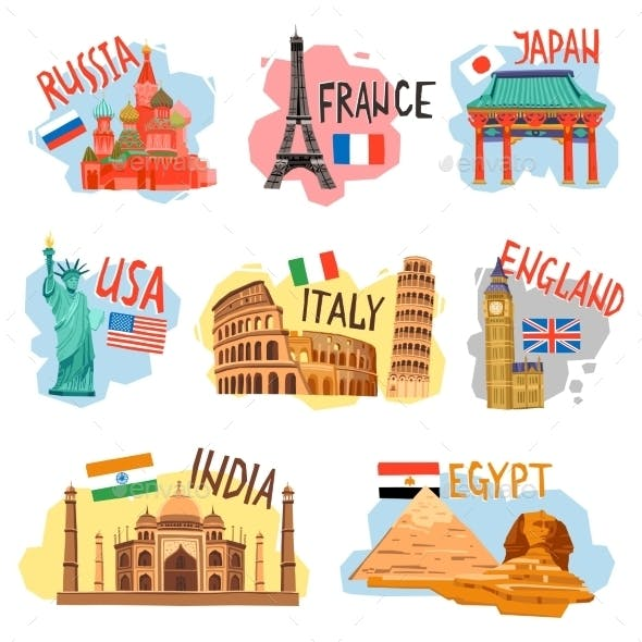 Tourism Vacation Travel Flat Pictograms Set