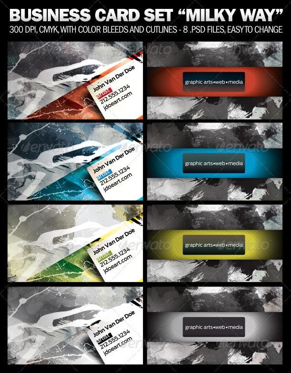 "4 Business Card Set ""Milky Way"" - Grunge Business Cards"