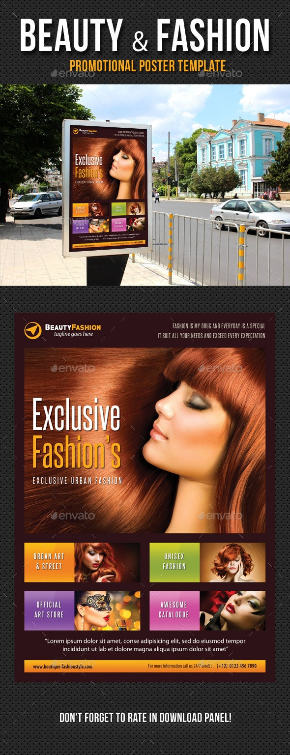 Beauty and Fashion Poster Template V17 - Signage Print Templates