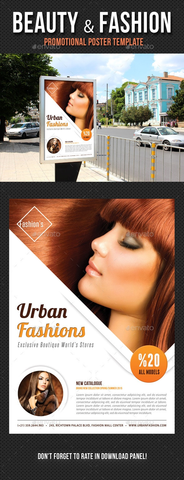 Beauty and Fashion Poster Template V19 - Signage Print Templates