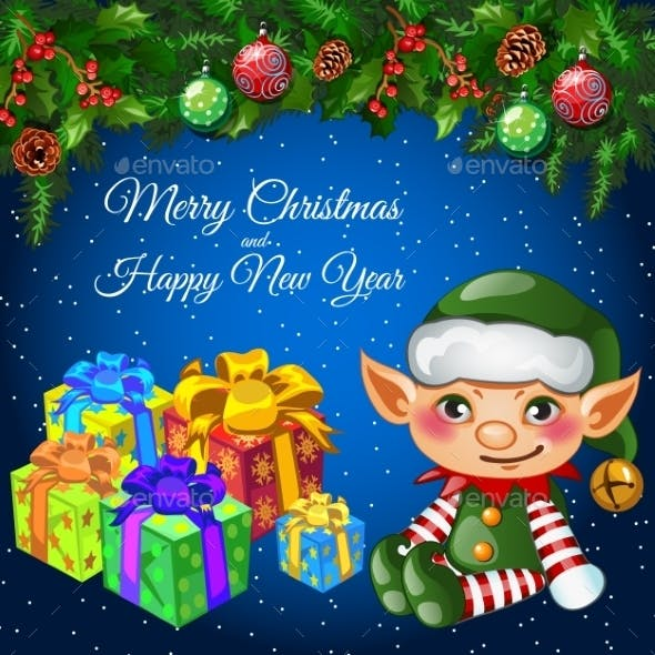 Holiday Card With Christmas Decor, Elf And Gifts