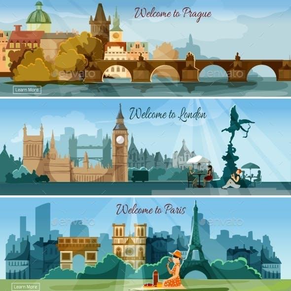 Popular Touristic Cities Flat Banners Set