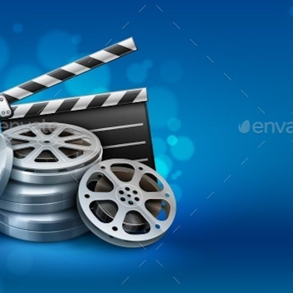 Movie Film Disks with Directors Clapper For