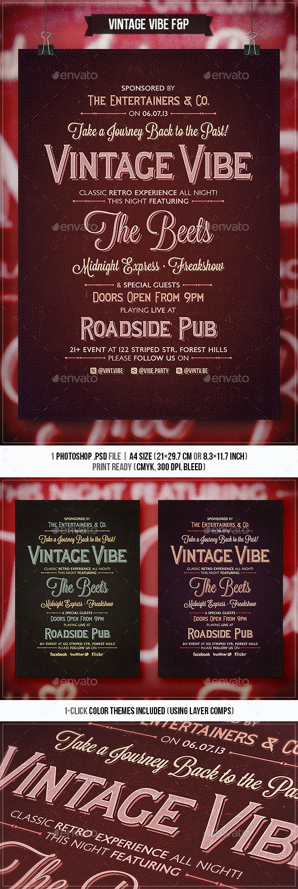 Vintage Vibe - Typography Flyer & Poster - Concerts Events
