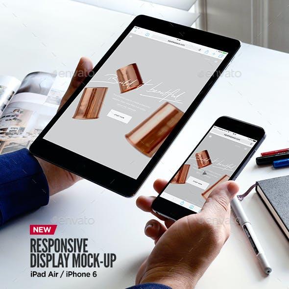 iPad Air iPhone Responsive Display Web App Mock-Up