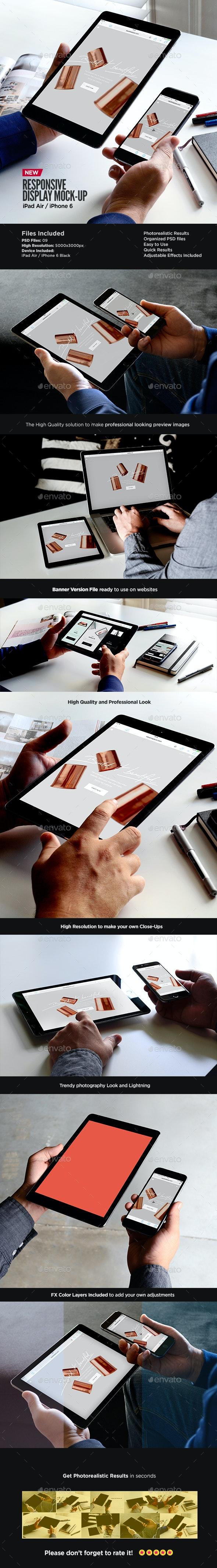 iPad Air iPhone Responsive Display Web App Mock-Up - Multiple Displays