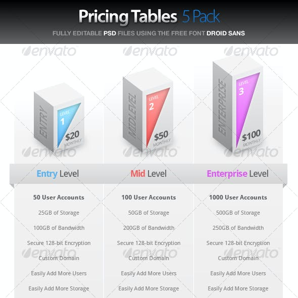 Pricing Tables - 5 Pack