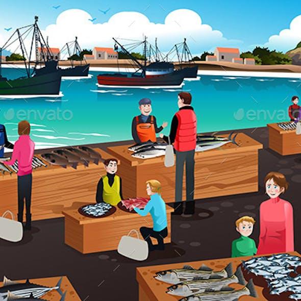 Fish Market Scene