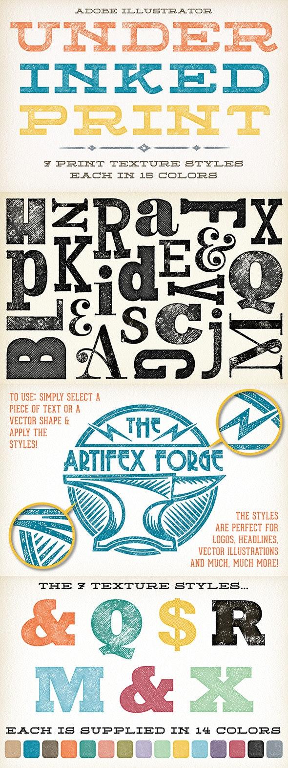 Under-Inked Print Styles - Styles Illustrator