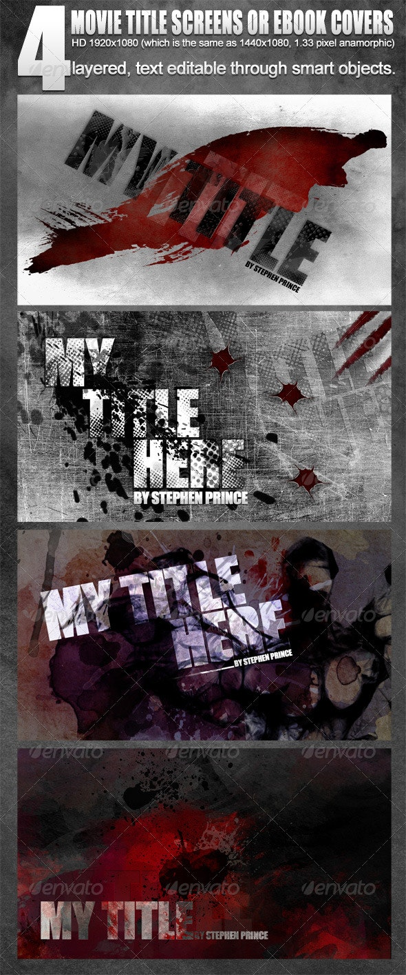 4 Movie Title Screens / eBook covers - 1920x1080HD - Miscellaneous Backgrounds