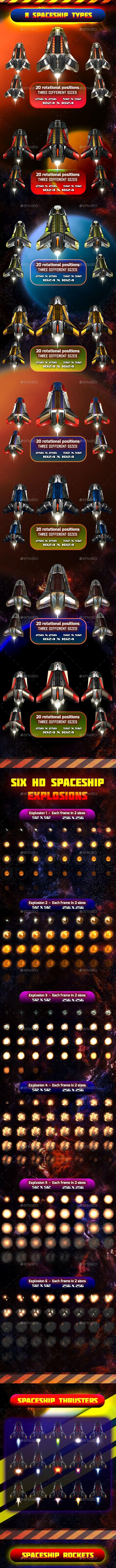 Spaceship Sprites Pack 5 - Sprites Game Assets