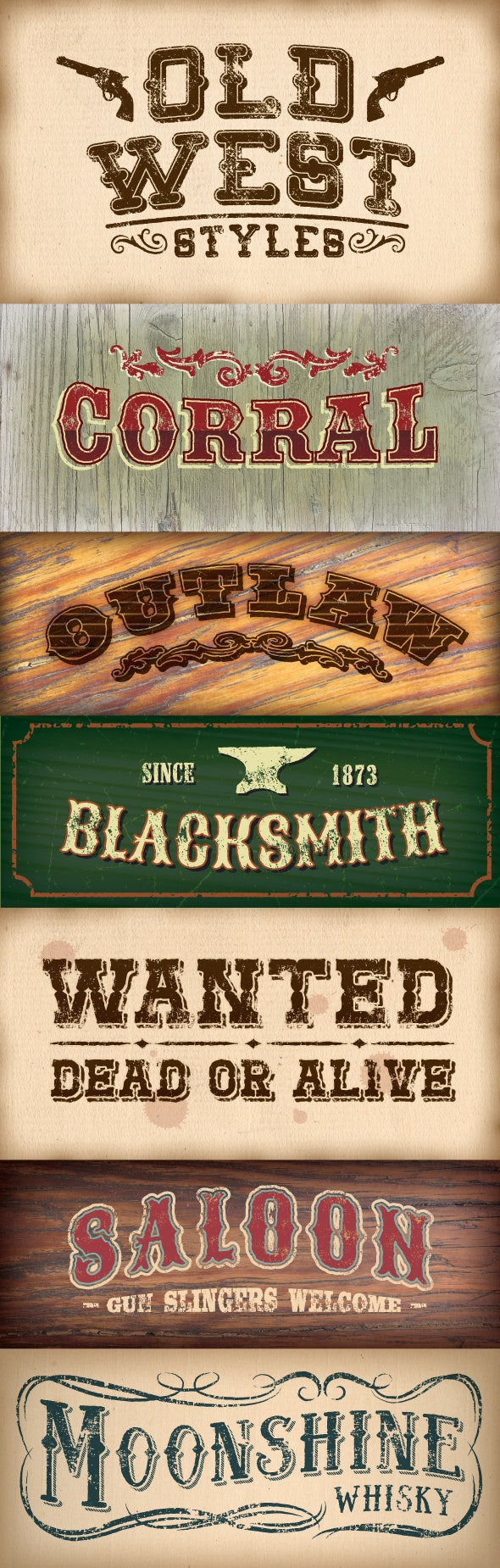 Old West Styles - Styles Illustrator