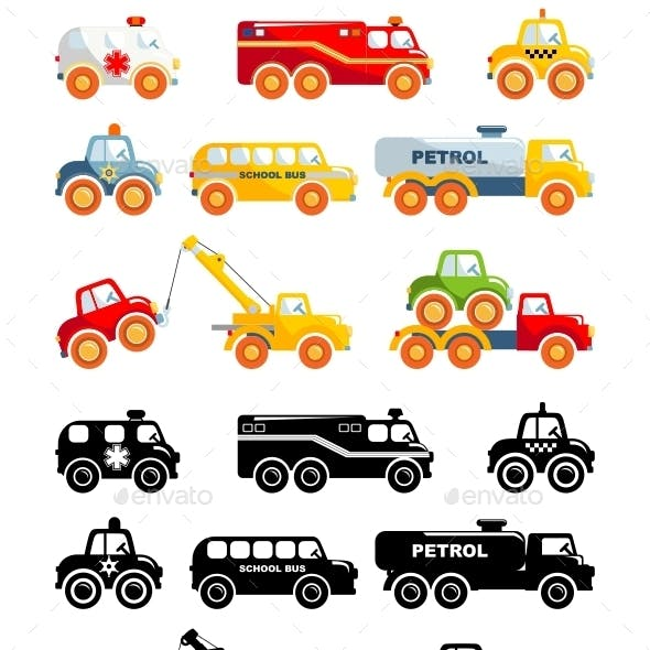 Set Of Toys Transportation In A Flat Style