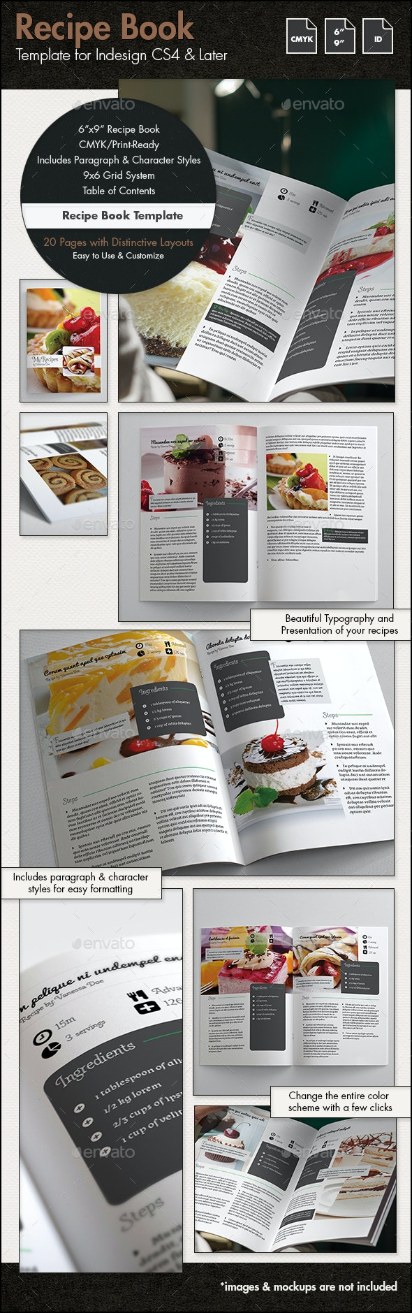 Recipe Book Template - 6x9in - Brochures Print Templates