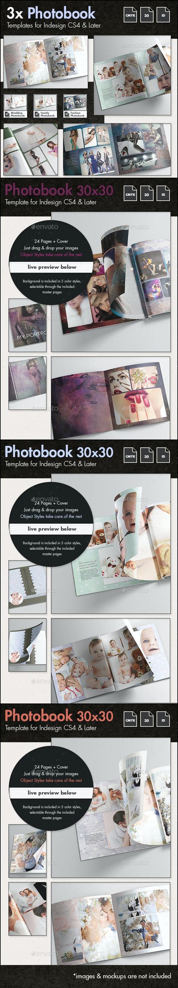 3x Photobook Album Template Bundle - Photo Albums Print Templates