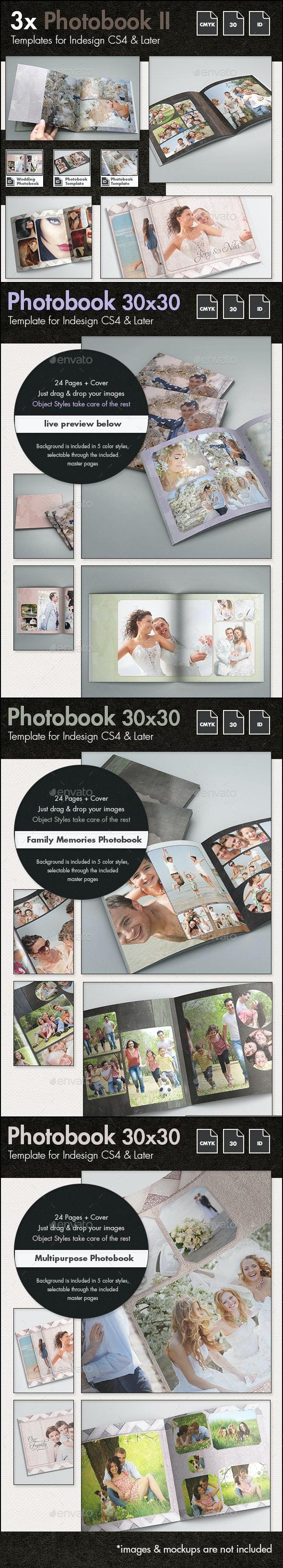 3x Photobook Album Template Bundle II - Photo Albums Print Templates