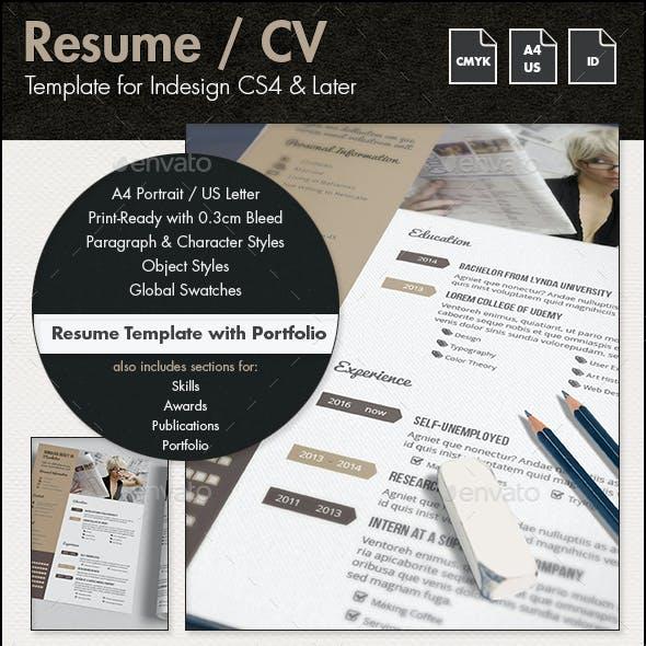 Resume / CV Template with Portfolio - A4 & US