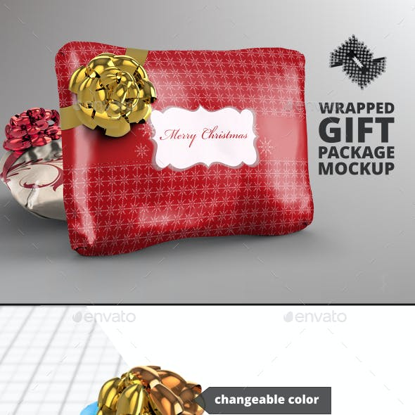 Wrapped Gift Package Mockup