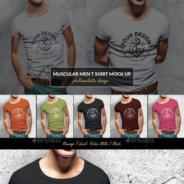 Muscular Men T-Shirt Mockup