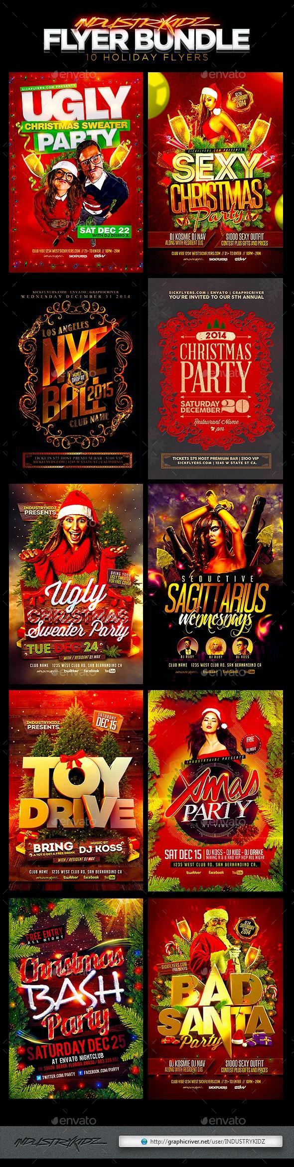Christmas Holiday Flyer Bundle - Holidays Events