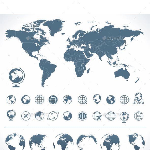 World Map with set of Globes Icons and Symbols.