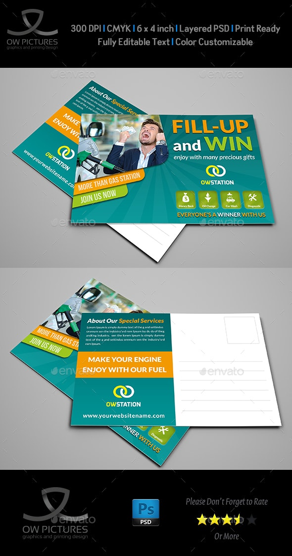 Gas Station Postcard Template - Cards & Invites Print Templates