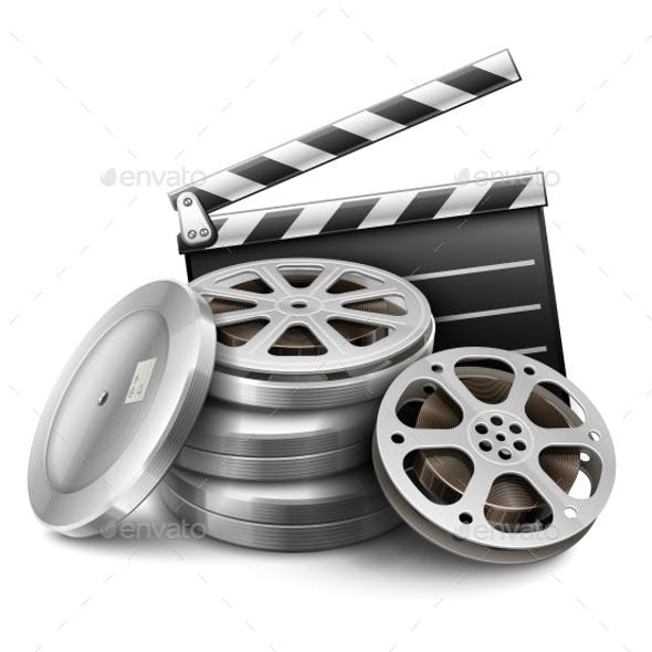 Movie Film Disk with Tape and Directors Clapper