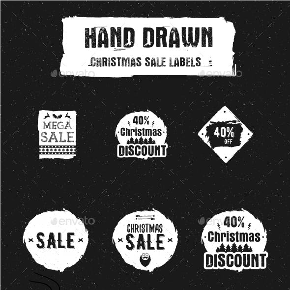 Hand Drawn Christmas Sale Labels.