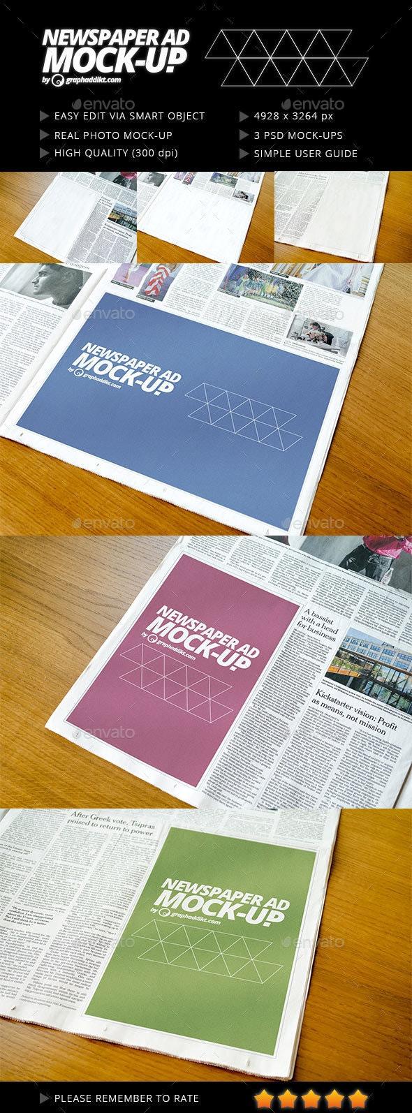 Newspaper advert mockup - Miscellaneous Print