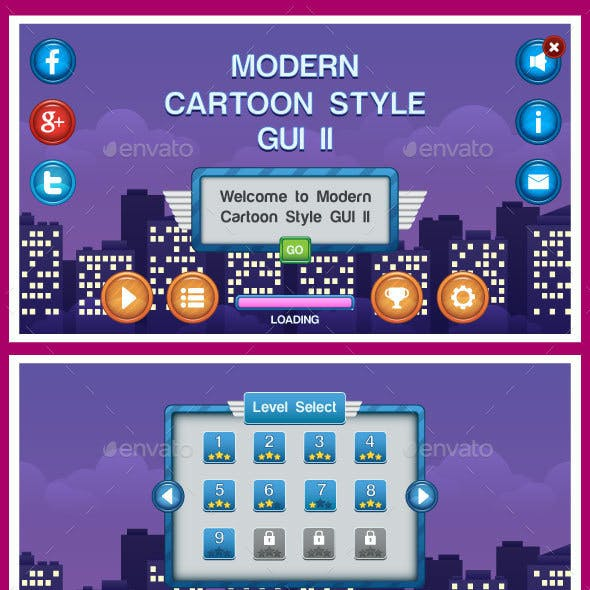Modern Cartoon Style GUI 2