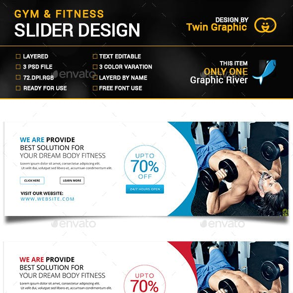Gym&fitness slider design.
