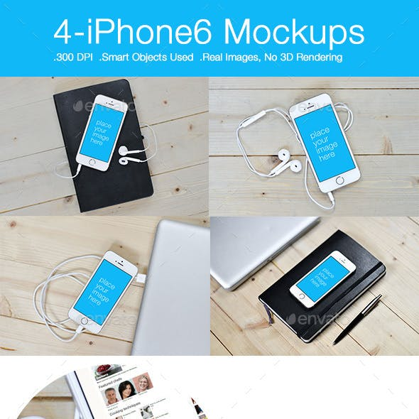 iPhone 6 Mockups-Pack of 4