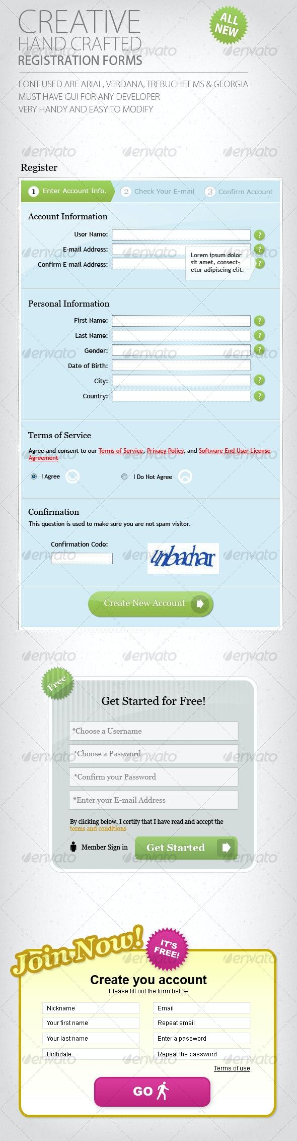 Web 2.0 Registration Forms - Forms Web Elements