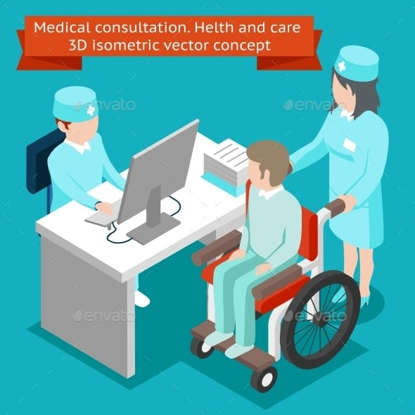 Medical Consultation. Health And Care 3D Isometric