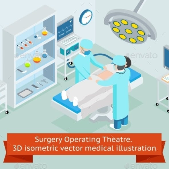 Surgery Operating Theatre. 3D Isometric Vector