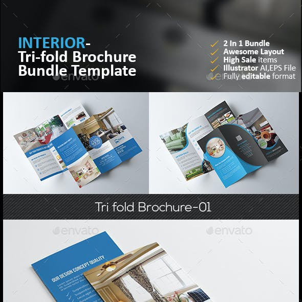Interior Tri Fold Brochure Bundle