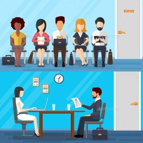 Business People Waiting For Job Interview. Vector - Conceptual Vectors