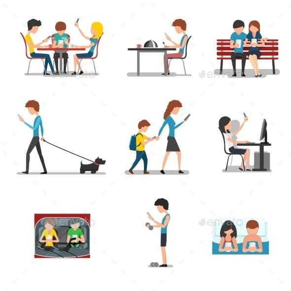 People In Different Action Use Smartphone. Vector