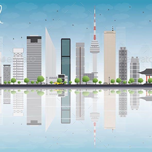 Seoul Skyline with Grey Building