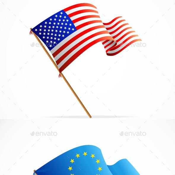 Waving Flag Set. Vector