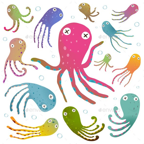 Colorful Octopus Isolated Cartoon Clip Art Set